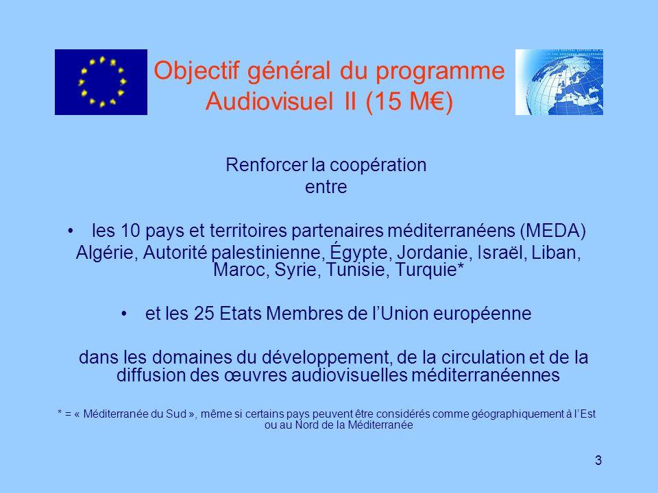 4 Les priorités du programme Audiovisuel II 1.Appui au développement, à la promotion, distribution et diffusion des œuvres audiovisuelles méditerranéennes (et européennes dans la région MEDA); 2.Soutien à la conservation et archivage du patrimoine cinématographique et/ou radiophonique de la région MEDA ; 3.Appui aux Etats partenaires méditerranéens dans le domaine de la législation audiovisuelle (protection de la propriété intellectuelle, lutte contre la piraterie, structuration du secteur, etc.); 4.Aide à la formation des professionnels méditerranéens de laudiovisuel.