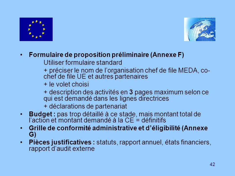 42 Formulaire de proposition préliminaire (Annexe F) Utiliser formulaire standard + préciser le nom de lorganisation chef de file MEDA, co- chef de fi
