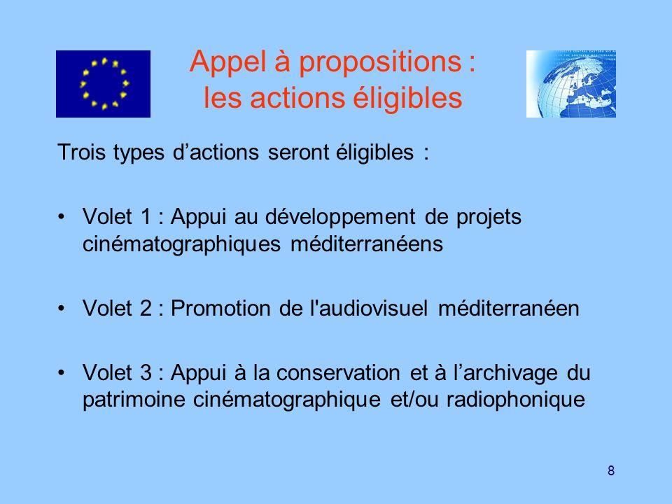 8 Appel à propositions : les actions éligibles Trois types dactions seront éligibles : Volet 1 : Appui au développement de projets cinématographiques