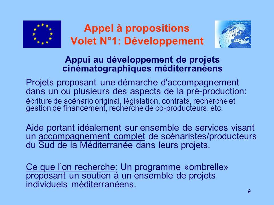10 Appel à proposition Volet N°1:Développement (2) Nécessité de respecter les principes de transparence, d équité et de représentativité géographique dans la sélection des scénarios à soutenir.