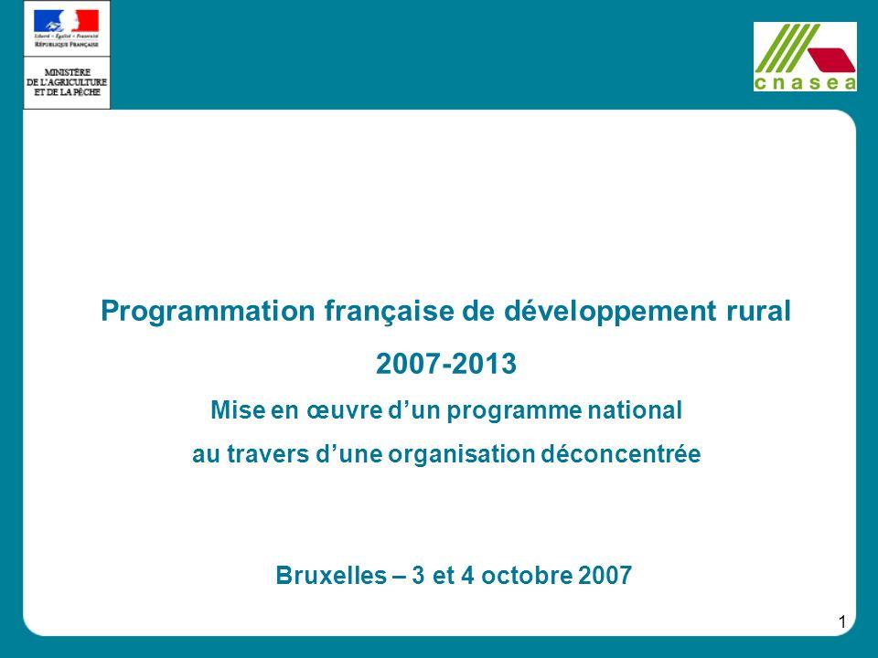 1 Programmation française de développement rural 2007-2013 Mise en œuvre dun programme national au travers dune organisation déconcentrée Bruxelles –