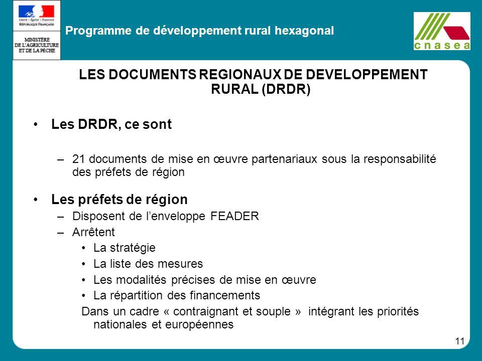 11 LES DOCUMENTS REGIONAUX DE DEVELOPPEMENT RURAL (DRDR) Les DRDR, ce sont –21 documents de mise en œuvre partenariaux sous la responsabilité des préf