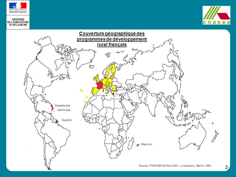 3 Réunion Guadeloupe Martinique Guyane Source : FNSF/IEP de Paris 2001 – projection J. Bertin, 1950 Couverture géographique des programmes de développ