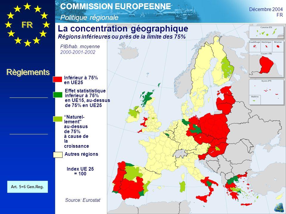 Politique régionale COMMISSION EUROPEENNE Décembre 2004 FR Règlements Inférieur à 75% en UE25 Effet statististique inférieur à 75% en UE15, au-dessus