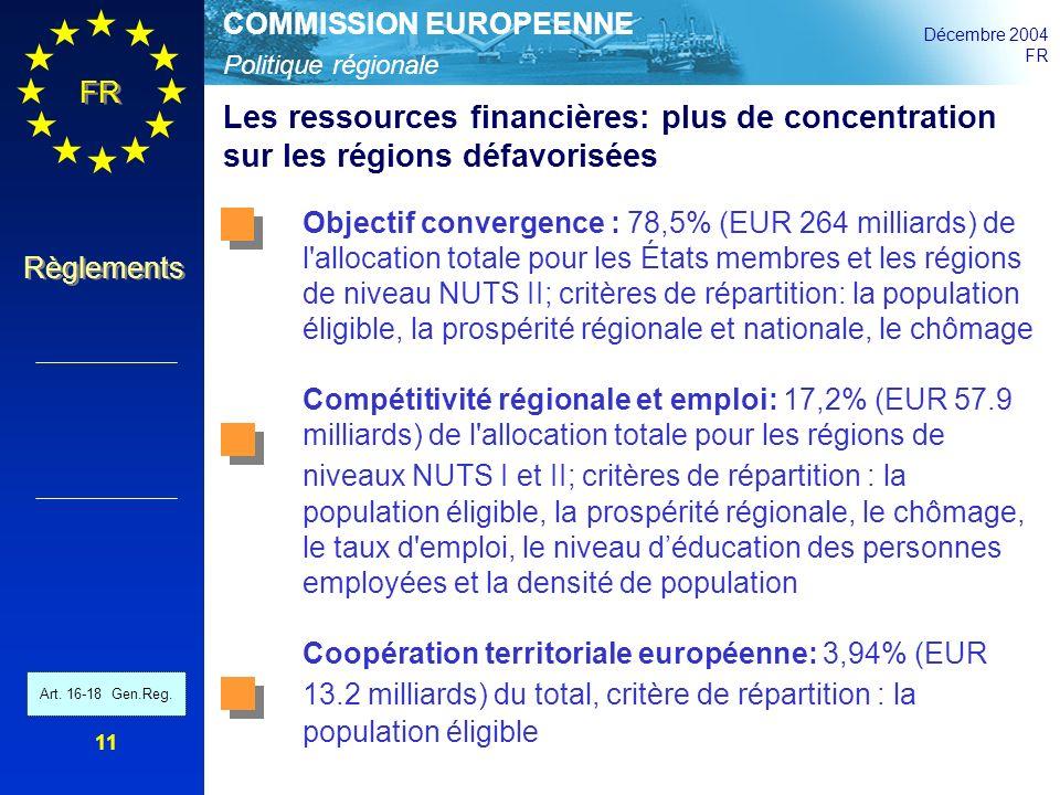 Politique régionale COMMISSION EUROPEENNE Décembre 2004 FR Règlements 11 Les ressources financières: plus de concentration sur les régions défavorisée