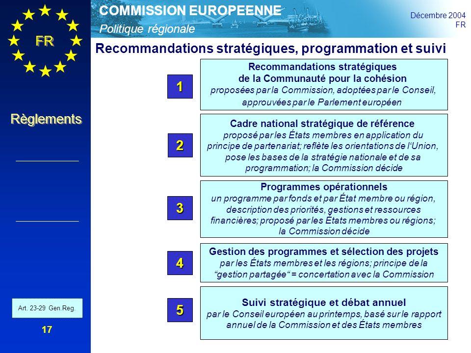 Politique régionale COMMISSION EUROPEENNE Décembre 2004 FR Règlements 17 Recommandations stratégiques de la Communauté pour la cohésion proposées par