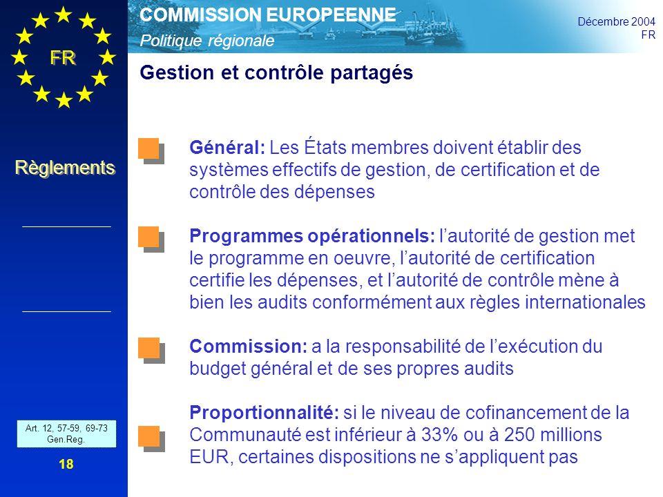 Politique régionale COMMISSION EUROPEENNE Décembre 2004 FR Règlements 18 Gestion et contrôle partagés Art. 42 - 46 and 52 - 54 Gen.Reg. Général: Les É