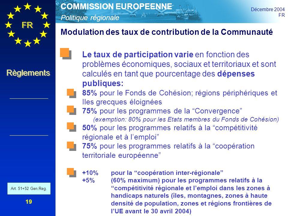 Politique régionale COMMISSION EUROPEENNE Décembre 2004 FR Règlements 19 Modulation des taux de contribution de la Communauté Le taux de participation