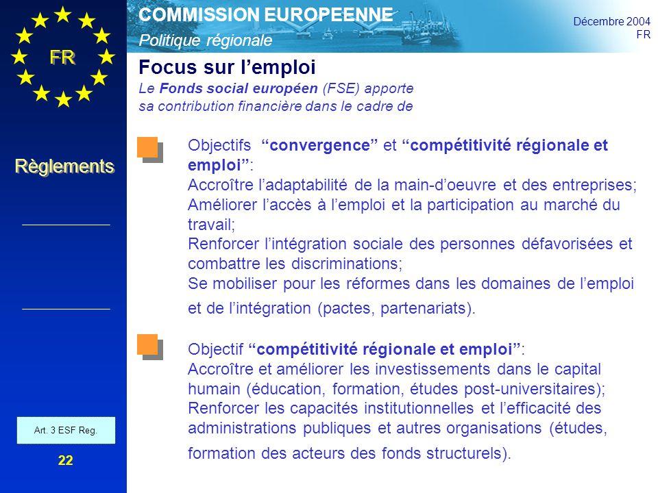 Politique régionale COMMISSION EUROPEENNE Décembre 2004 FR Règlements 22 Focus sur lemploi Le Fonds social européen (FSE) apporte sa contribution fina