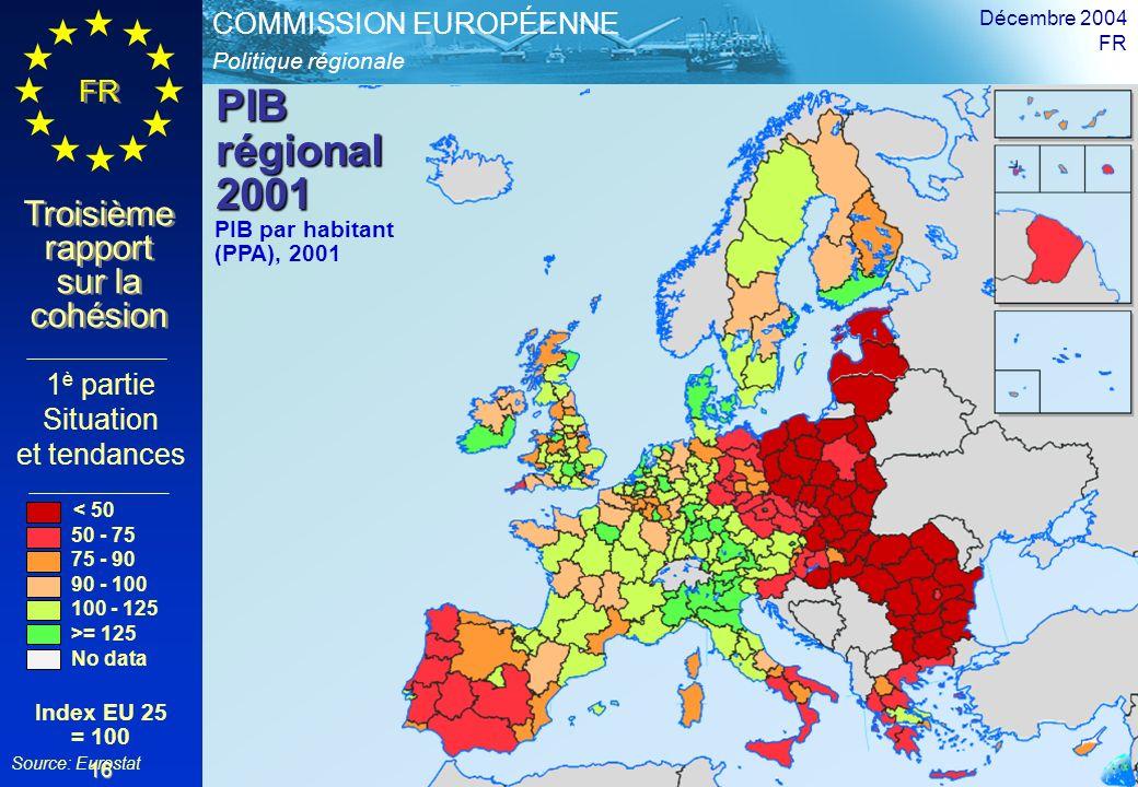 Politique régionale COMMISSION EUROPÉENNE FR Troisième rapport sur la cohésion Décembre 2004 FR 16 PIB régional 2001 1 è partie Situation et tendances PIB par habitant (PPA), 2001 < 50 50 - 75 75 - 90 90 - 100 100 - 125 >= 125 No data Index EU 25 = 100 Source: Eurostat
