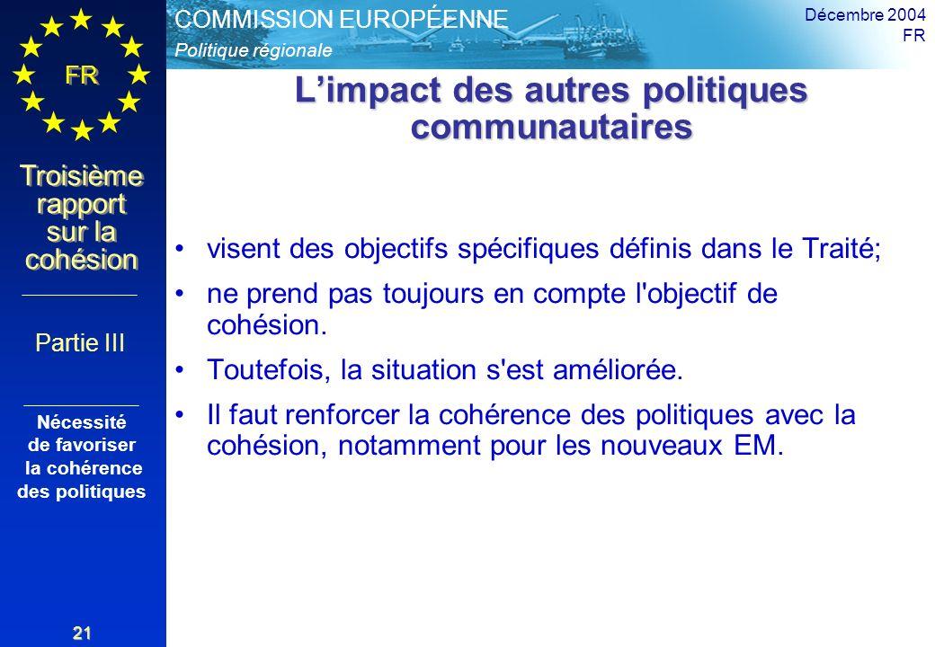 Politique régionale COMMISSION EUROPÉENNE FR Troisième rapport sur la cohésion Décembre 2004 FR 21 Limpact des autres politiques communautaires visent des objectifs spécifiques définis dans le Traité; ne prend pas toujours en compte l objectif de cohésion.