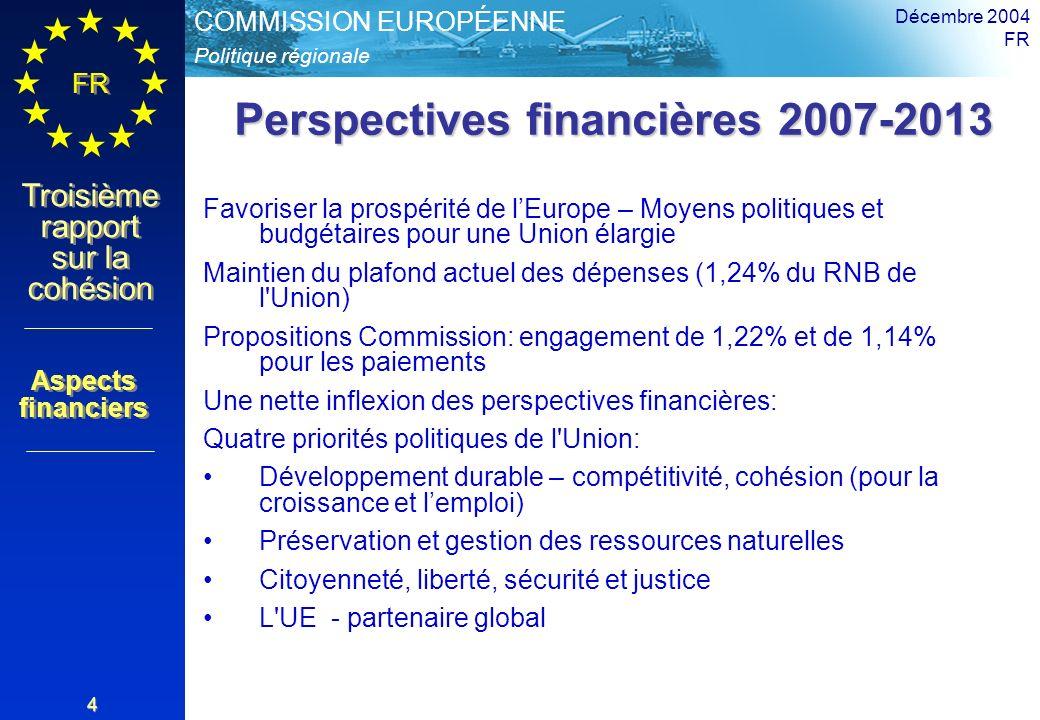 Politique régionale COMMISSION EUROPÉENNE FR Troisième rapport sur la cohésion Décembre 2004 FR 4 Perspectives financières 2007-2013 Favoriser la prospérité de lEurope – Moyens politiques et budgétaires pour une Union élargie Maintien du plafond actuel des dépenses (1,24% du RNB de l Union) Propositions Commission: engagement de 1,22% et de 1,14% pour les paiements Une nette inflexion des perspectives financières: Quatre priorités politiques de l Union: Développement durable – compétitivité, cohésion (pour la croissance et lemploi) Préservation et gestion des ressources naturelles Citoyenneté, liberté, sécurité et justice L UE - partenaire global Aspects financiers