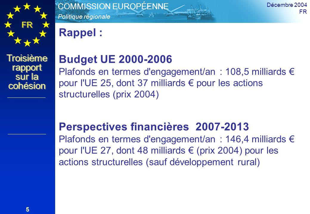 Politique régionale COMMISSION EUROPÉENNE FR Troisième rapport sur la cohésion Décembre 2004 FR 5 Rappel : Budget UE 2000-2006 Plafonds en termes d engagement/an : 108,5 milliards pour l UE 25, dont 37 milliards pour les actions structurelles (prix 2004) Perspectives financières 2007-2013 Plafonds en termes d engagement/an : 146,4 milliards pour l UE 27, dont 48 milliards (prix 2004) pour les actions structurelles (sauf développement rural)