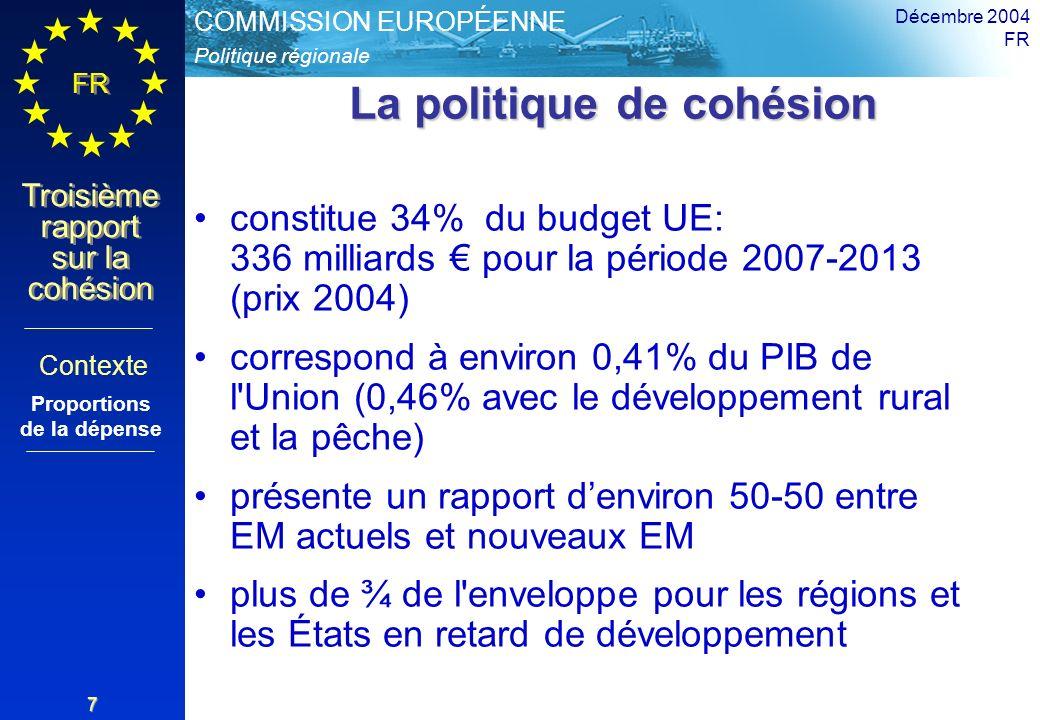 Politique régionale COMMISSION EUROPÉENNE FR Troisième rapport sur la cohésion Décembre 2004 FR 7 La politique de cohésion constitue 34% du budget UE: 336 milliards pour la période 2007-2013 (prix 2004) correspond à environ 0,41% du PIB de l Union (0,46% avec le développement rural et la pêche) présente un rapport denviron 50-50 entre EM actuels et nouveaux EM plus de ¾ de l enveloppe pour les régions et les États en retard de développement Contexte Proportions de la dépense