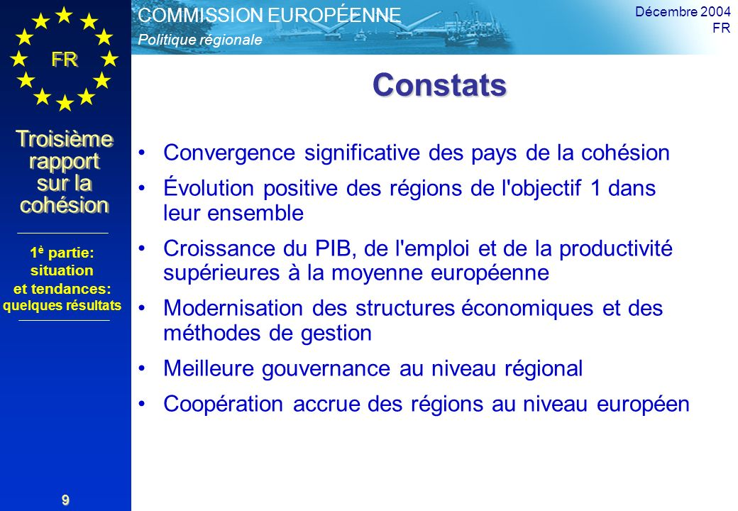 Politique régionale COMMISSION EUROPÉENNE FR Troisième rapport sur la cohésion Décembre 2004 FR 9 Constats Constats Convergence significative des pays de la cohésion Évolution positive des régions de l objectif 1 dans leur ensemble Croissance du PIB, de l emploi et de la productivité supérieures à la moyenne européenne Modernisation des structures économiques et des méthodes de gestion Meilleure gouvernance au niveau régional Coopération accrue des régions au niveau européen 1 è partie: situation et tendances: quelques résultats