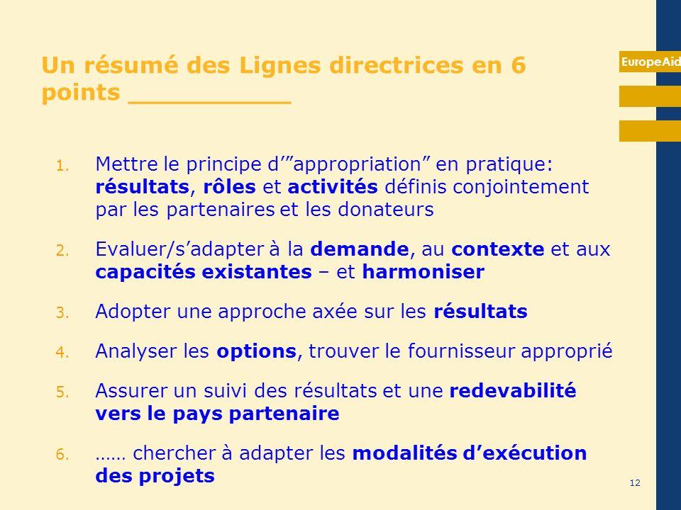 EuropeAid Un résumé des Lignes directrices en 6 points __________ 1. Mettre le principe dappropriation en pratique: résultats, rôles et activités défi