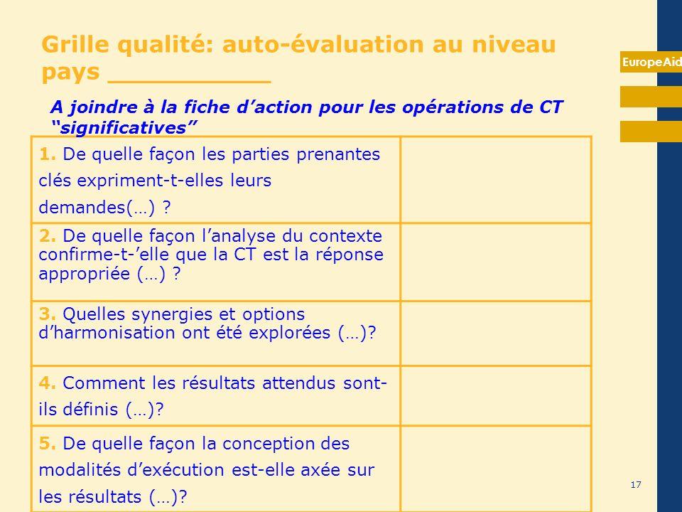 EuropeAid 17 Grille qualité: auto-évaluation au niveau pays __________ 1. De quelle façon les parties prenantes clés expriment-t-elles leurs demandes(