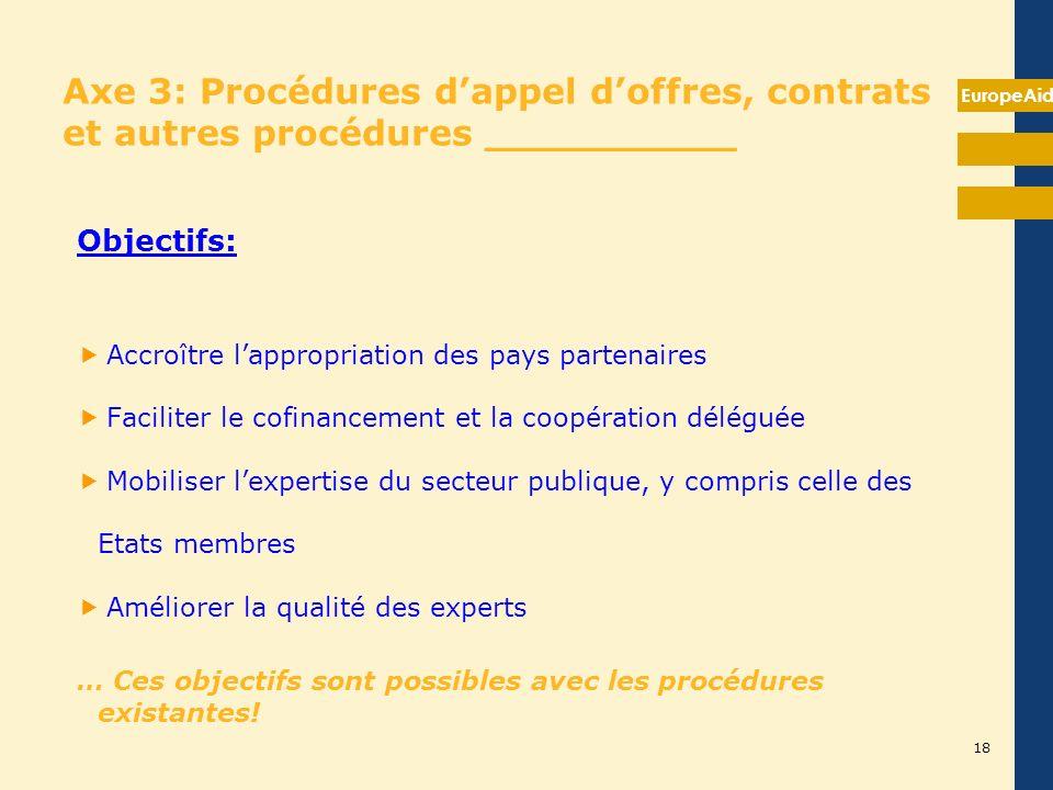 EuropeAid 18 Axe 3: Procédures dappel doffres, contrats et autres procédures __________ Objectifs: Accroître lappropriation des pays partenaires Facil