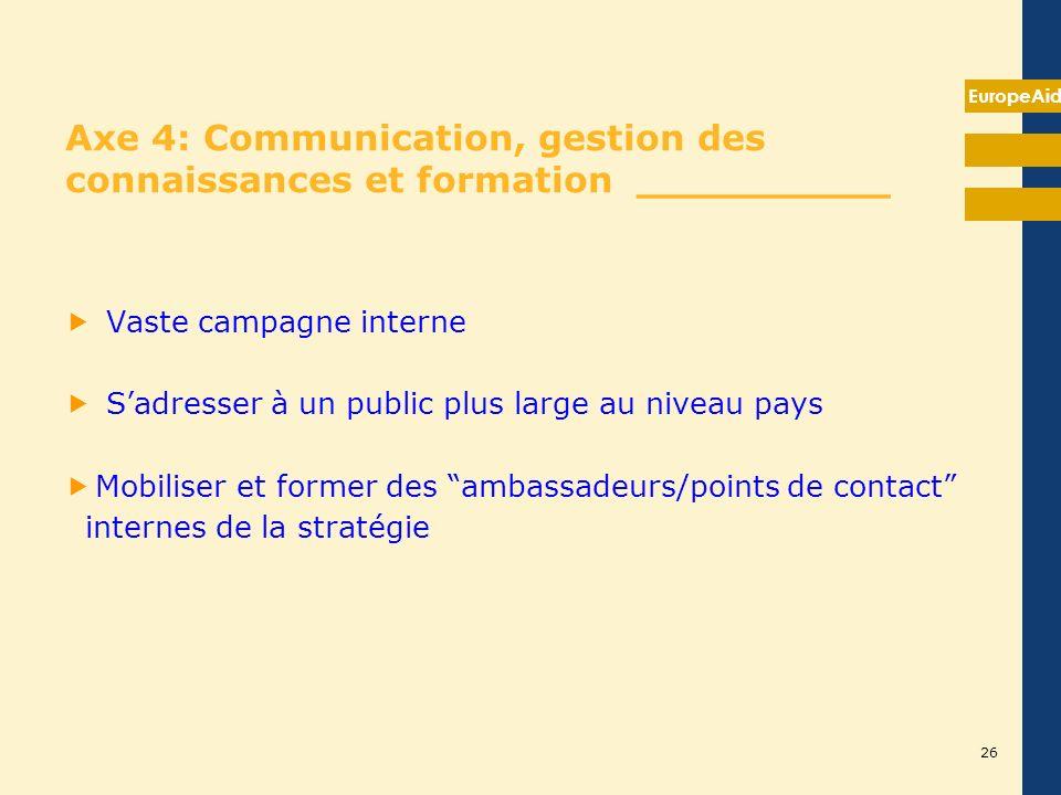 EuropeAid 26 Axe 4: Communication, gestion des connaissances et formation __________ Vaste campagne interne Sadresser à un public plus large au niveau