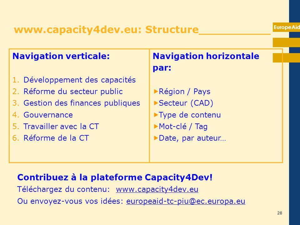 EuropeAid www.capacity4dev.eu: Structure__________ Contribuez à la plateforme Capacity4Dev! Téléchargez du contenu: www.capacity4dev.eu Ou envoyez-vou