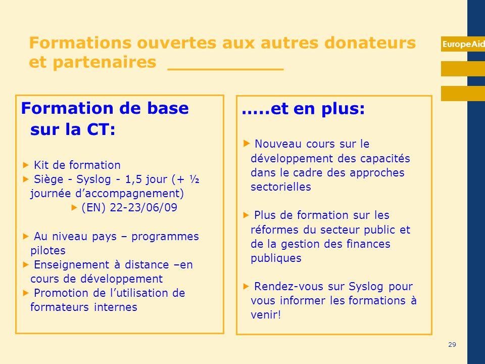 EuropeAid 29 Formations ouvertes aux autres donateurs et partenaires __________ Formation de base sur la CT: Kit de formation Siège - Syslog - 1,5 jou