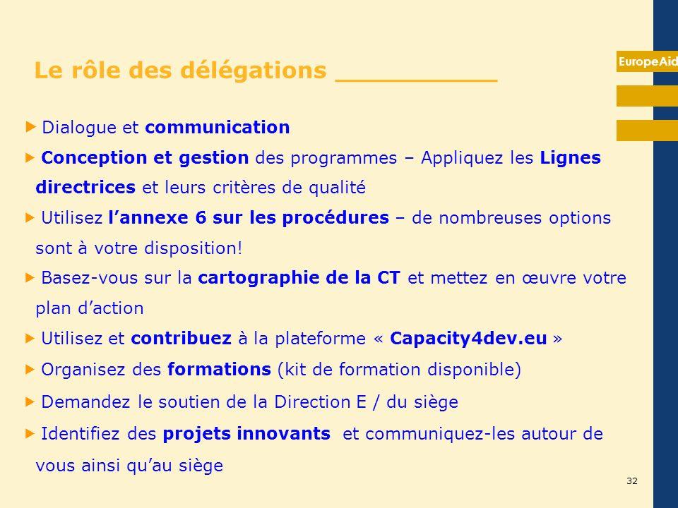 EuropeAid Le rôle des délégations __________ Dialogue et communication Conception et gestion des programmes – Appliquez les Lignes directrices et leur