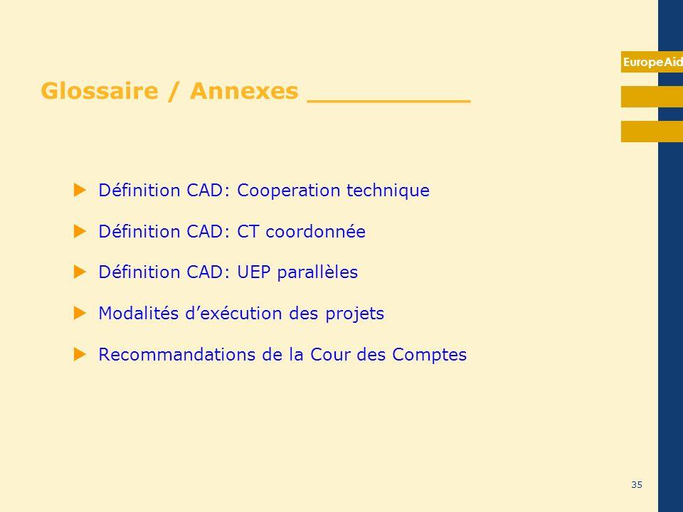 EuropeAid 35 Glossaire / Annexes __________ Définition CAD: Cooperation technique Définition CAD: CT coordonnée Définition CAD: UEP parallèles Modalit