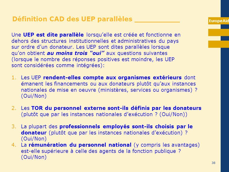 EuropeAid 38 Définition CAD des UEP parallèles __________ Une UEP est dite parallèle lorsquelle est créée et fonctionne en dehors des structures insti