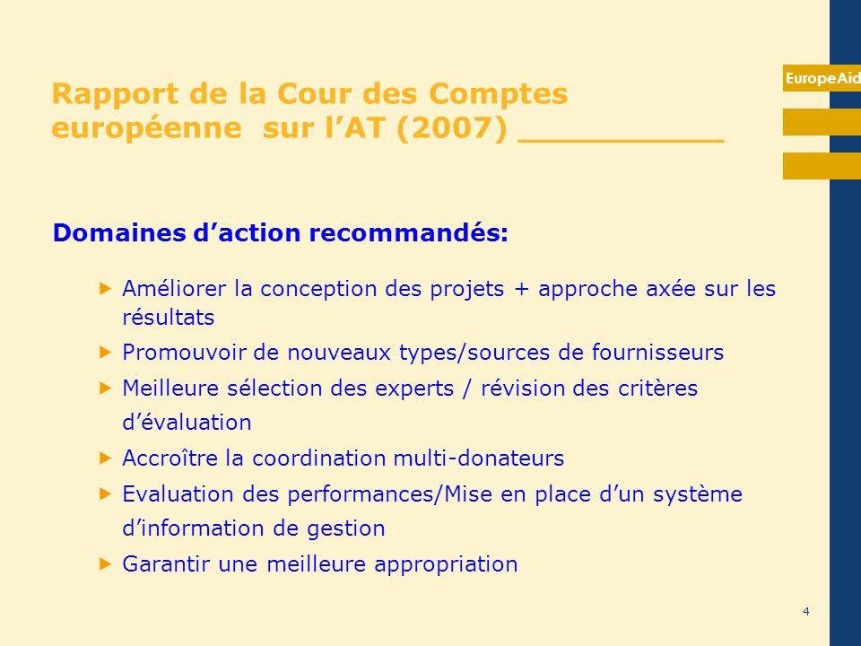 EuropeAid Rapport de la Cour des Comptes européenne sur lAT (2007) __________ Domaines daction recommandés: Améliorer la conception des projets + appr