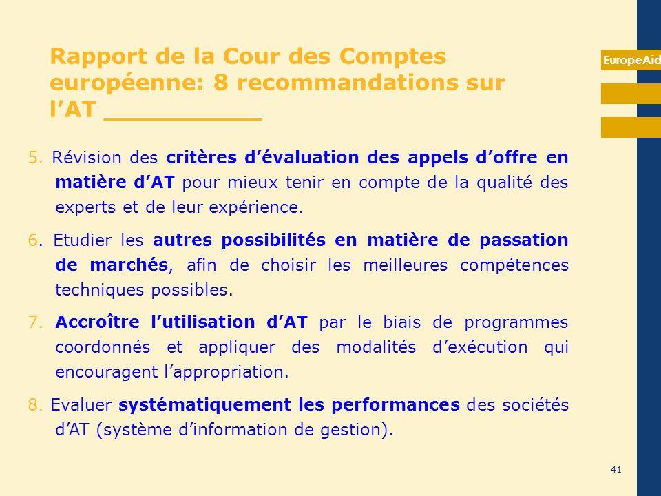 EuropeAid 5. Révision des critères dévaluation des appels doffre en matière dAT pour mieux tenir en compte de la qualité des experts et de leur expéri