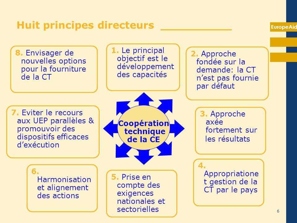 EuropeAid 6 7. Eviter le recours aux UEP parallèles & promouvoir des dispositifs efficaces dexécution Coopération technique de la CE 1. Le principal o