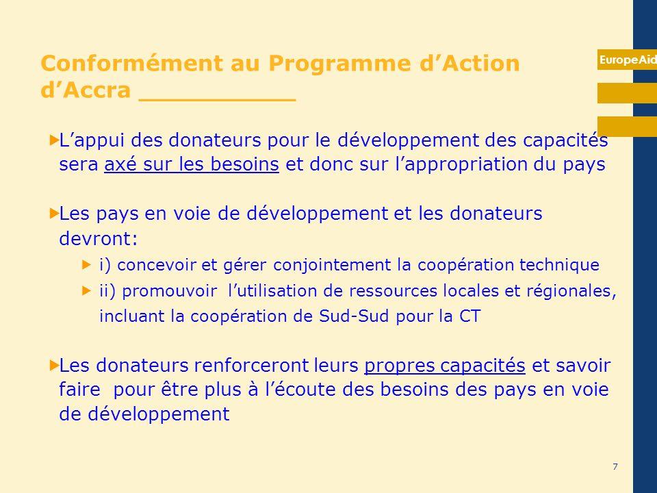 EuropeAid Conformément au Programme dAction dAccra __________ Lappui des donateurs pour le développement des capacités sera axé sur les besoins et don