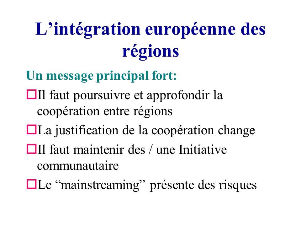Lintégration européenne des régions Un message principal fort: oIl faut poursuivre et approfondir la coopération entre régions oLa justification de la coopération change oIl faut maintenir des / une Initiative communautaire oLe mainstreaming présente des risques