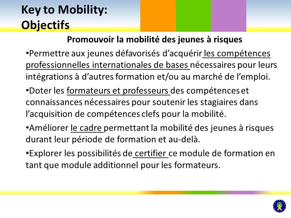 Promouvoir la mobilité des jeunes à risques Permettre aux jeunes défavorisés dacquérir les compétences professionnelles internationales de bases néces