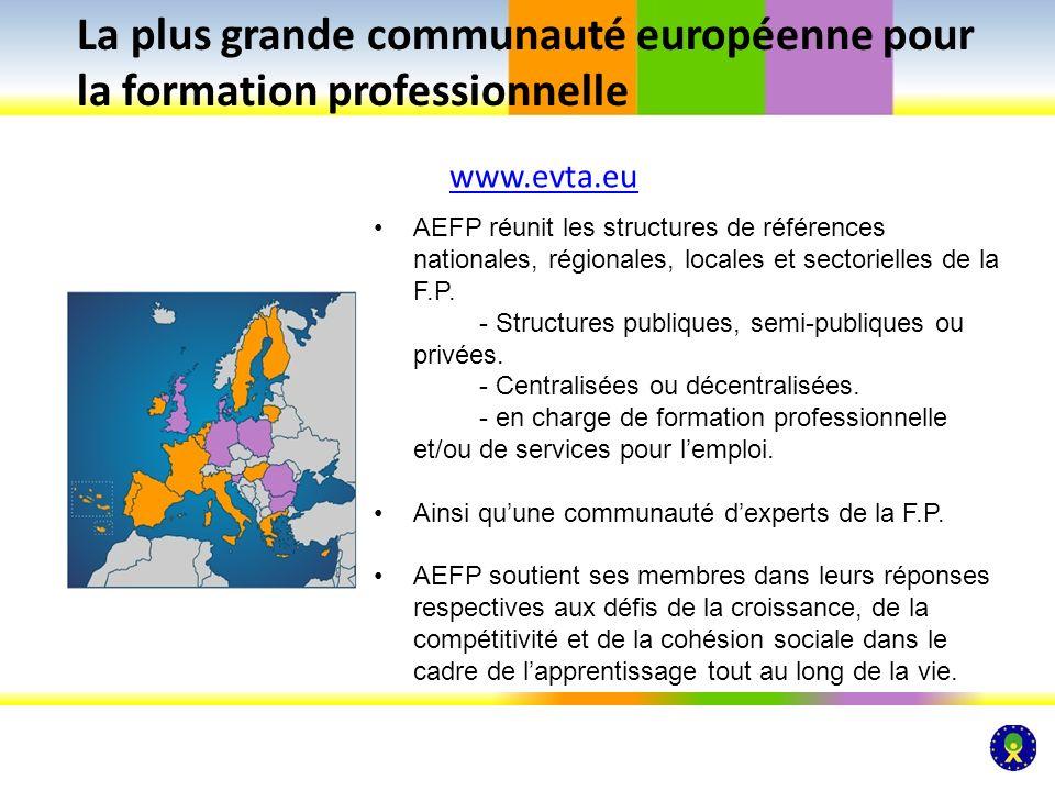 www.evta.eu La plus grande communauté européenne pour la formation professionnelle AEFP réunit les structures de références nationales, régionales, lo