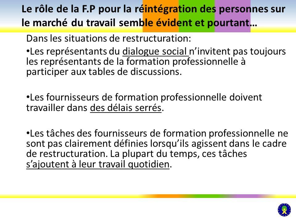 Dans les situations de restructuration: Les représentants du dialogue social ninvitent pas toujours les représentants de la formation professionnelle