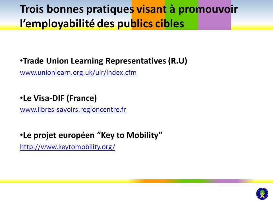 Trade Union Learning Representatives (R.U) www.unionlearn.org.uk/ulr/index.cfm Le Visa-DIF (France) www.libres-savoirs.regioncentre.fr Le projet europ