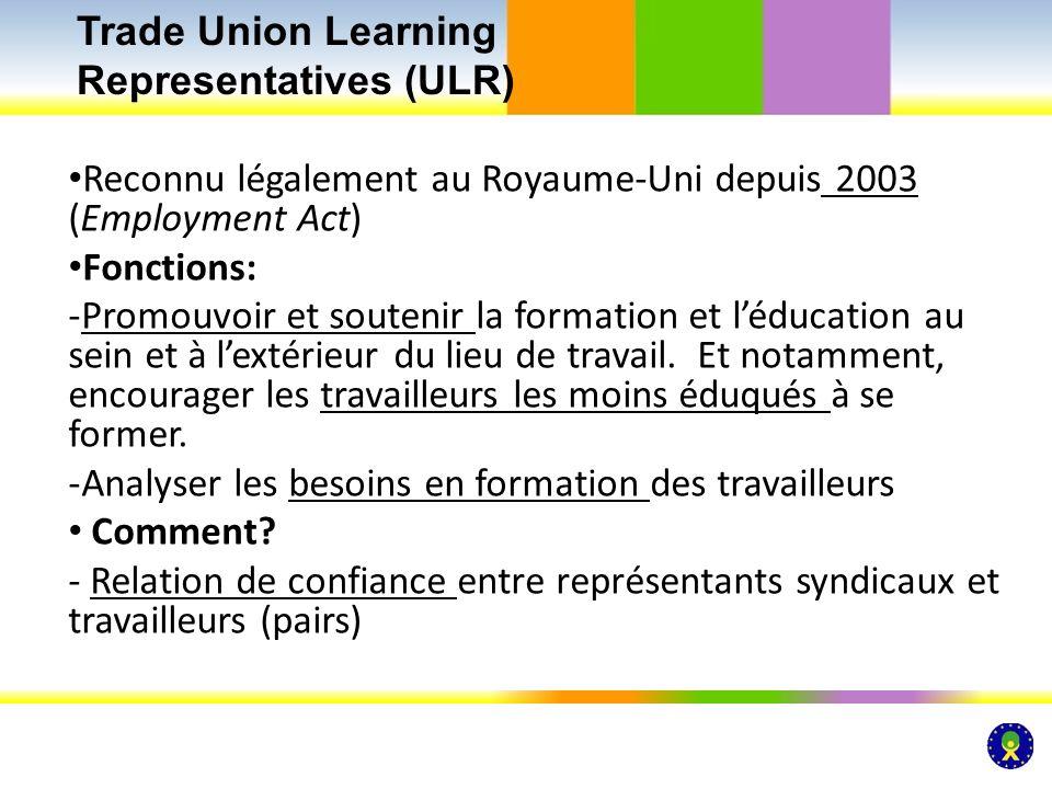 Reconnu légalement au Royaume-Uni depuis 2003 (Employment Act) Fonctions: -Promouvoir et soutenir la formation et léducation au sein et à lextérieur d