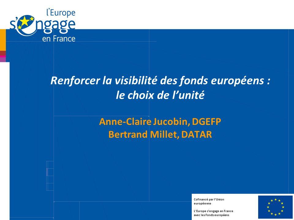 1 Renforcer la visibilité des fonds européens : le choix de lunité Anne-Claire Jucobin, DGEFP Bertrand Millet, DATAR Cofinancé par lUnion européenne L