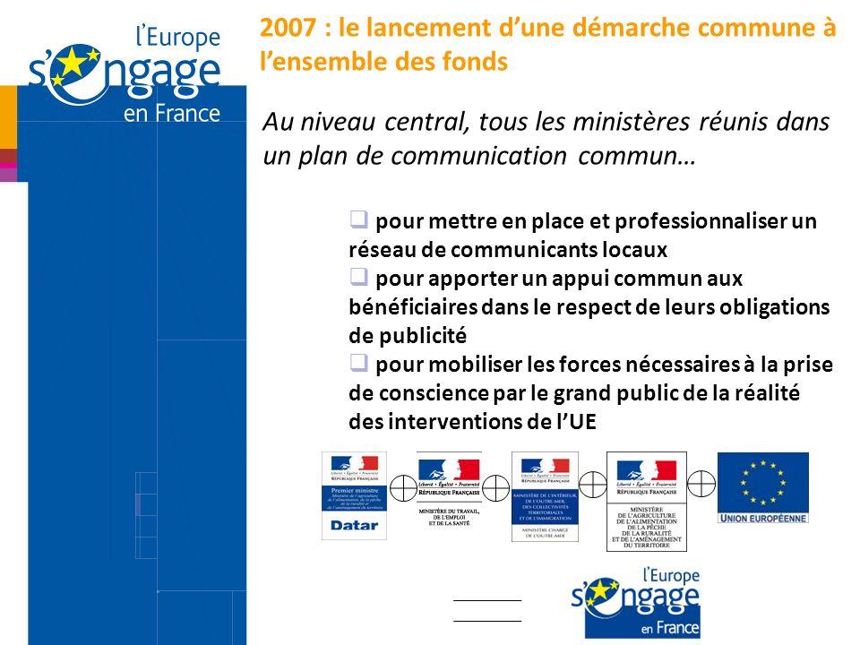 2007 : le lancement dune démarche commune à lensemble des fonds Au niveau central, tous les ministères réunis dans un plan de communication commun… po