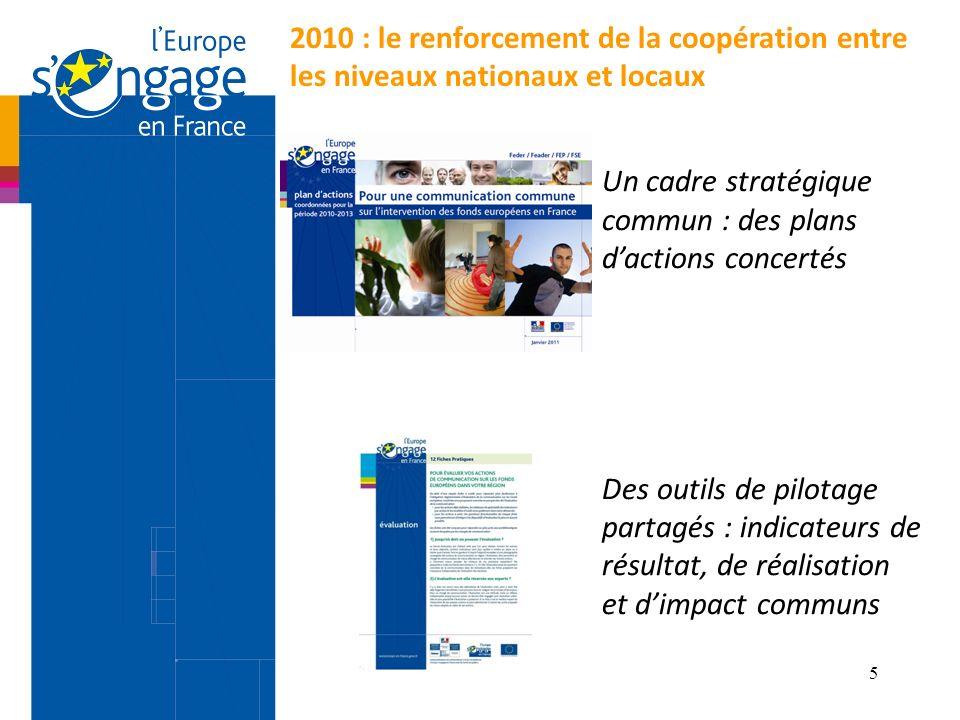 5 2010 : le renforcement de la coopération entre les niveaux nationaux et locaux Un cadre stratégique commun : des plans dactions concertés Des outils