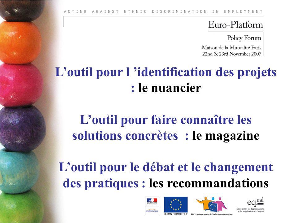 Loutil pour l identification des projets : le nuancier Loutil pour faire connaître les solutions concrètes : le magazine Loutil pour le débat et le changement des pratiques : les recommandations
