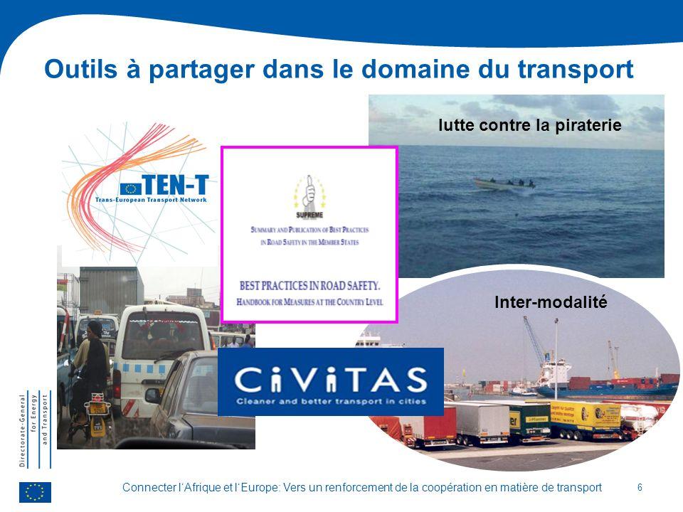 Connecter lAfrique et lEurope: Vers un renforcement de la coopération en matière de transport Outils à partager dans le domaine du transport 6 lutte contre la piraterie Inter-modalité