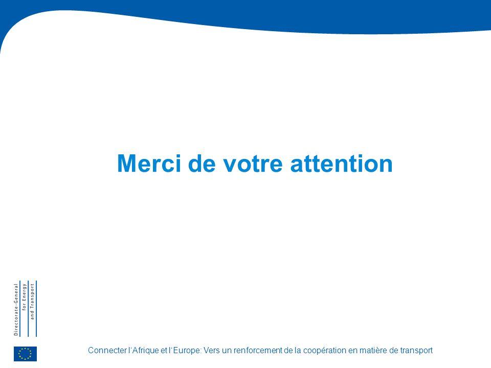 Connecter lAfrique et lEurope: Vers un renforcement de la coopération en matière de transport Merci de votre attention