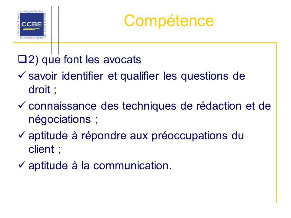 Compétence 2) que font les avocats savoir identifier et qualifier les questions de droit ; connaissance des techniques de rédaction et de négociations ; aptitude à répondre aux préoccupations du client ; aptitude à la communication.