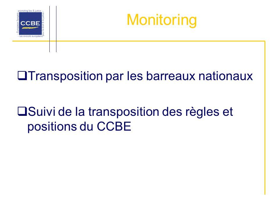 Monitoring Transposition par les barreaux nationaux Suivi de la transposition des règles et positions du CCBE