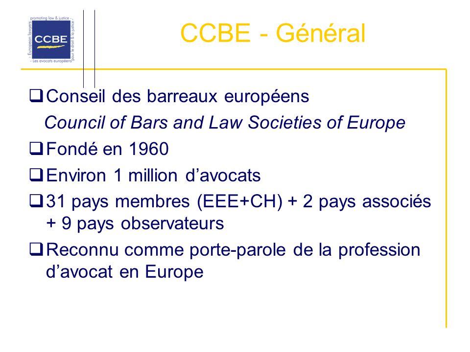 CCBE - Général Conseil des barreaux européens Council of Bars and Law Societies of Europe Fondé en 1960 Environ 1 million davocats 31 pays membres (EEE+CH) + 2 pays associés + 9 pays observateurs Reconnu comme porte-parole de la profession davocat en Europe