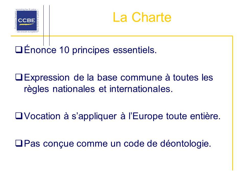 La Charte Énonce 10 principes essentiels. Expression de la base commune à toutes les règles nationales et internationales. Vocation à sappliquer à lEu