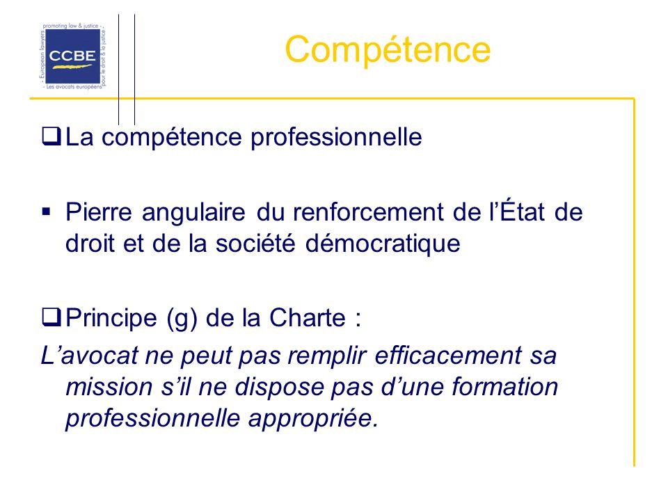 Compétence La compétence professionnelle Pierre angulaire du renforcement de lÉtat de droit et de la société démocratique Principe (g) de la Charte :