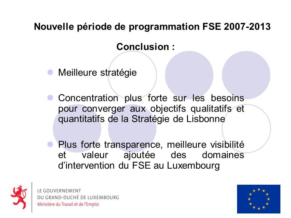Nouvelle période de programmation FSE 2007-2013 Conclusion : Meilleure stratégie Concentration plus forte sur les besoins pour converger aux objectifs qualitatifs et quantitatifs de la Stratégie de Lisbonne Plus forte transparence, meilleure visibilité et valeur ajoutée des domaines dintervention du FSE au Luxembourg